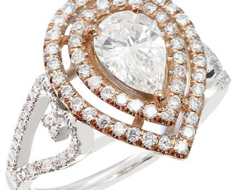18k white and rose gold pear shape diamond engagement ring art deco 1.45ctw