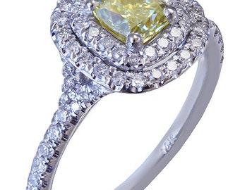 14k white gold cushion cut diamond engagement ring fancy yellow art deco 1.40ctw