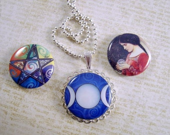 Wiccan Magnetic Pendant, Interchangeable Necklace, 3 in 1 Necklace