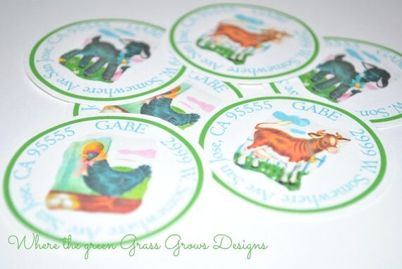 Farm Stickers Vintage Style