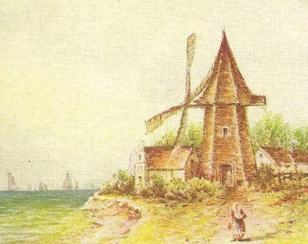 Windmill at the Seaside Edge Vintage Birthday Postcard Owen Publishing Art Postcard