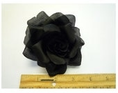 "3.5"" Black Silk Rose Fabric Flower Pin Brooch - Made in USA"