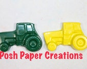 20 sets of 2 tractor crayons - yellow and green - in cello bag tied with ribbon
