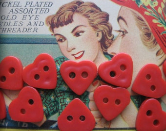 Love is in the Air!...red heart buttons...1940...new old stock...looks like bakelite...lot of 15