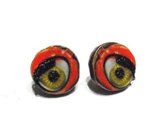 Mechanical Doll Eye Earrings - Post - Orange, Green & Black, Steampunk Eye Jewelry, Robot, Machine, Eyeballs, Eyeball Jewelry, Lasercut Wood
