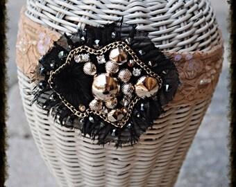 Stud Fur Chain Swarovski Crystal Lace Headband