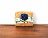 Upcycled Floral and Tan Wool Business or Credit Card Holder with Navy Rosette