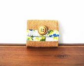Upcycled Floral and Tan Wool Business or Credit Card Holder with Wooden Button
