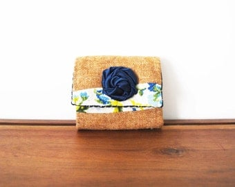 CLEARANCE-- Upcycled Floral and Tan Wool Business or Credit Card Holder with Navy Rosette