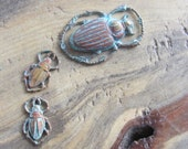 3 Stamped Brass Scarab  - Verdigris Beetle Charms - Pendants - Assemblage Supply