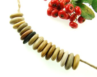 Bulk, Top Drilled Medium Thick Beach Stones Natural Rocks 15 pcs, Jewelry Pendants, Eco Friendly Beads