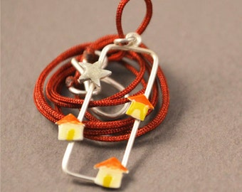 Silver necklace, small village necklace, liquid glass necklace, silver enamel necklace, yellow enamel necklace