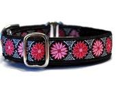 Martingale Collar: Pink Daisies Jacquard  (1 Inch), Greyhound Collar, Dog Collar, Custom Dog Collars