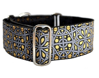 Silver and Gold Jacquard Martingale Collar - 2 Inch