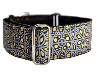 Martingale Collar or Buckle Dog Collar - Ankara Jacquard in Gray & Gold - 2 Inch, Greyhound Collar, Great Dane Collar, Custom Dog Collar