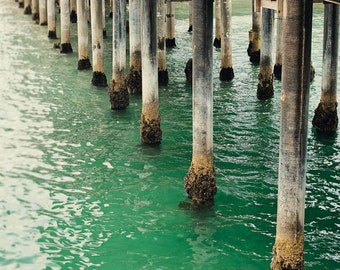 "Emerald Ocean Photograph, Sea Water, Pier, Santa Monica, Beach House, Ocean Photography, Green, Beach House ""Emerald Waters"""