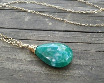 MOTHERS SALE May Birthstone Emerald Necklace Genuine Emerald Necklace Rough Cut Emerald Necklace May Birthday Gift Gold Filled Necklace