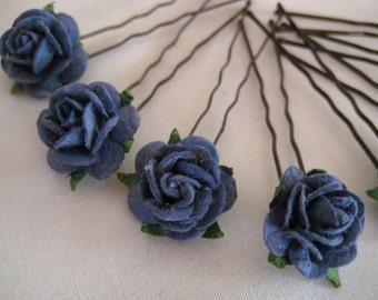 Navy/Ocean Blue Rose Hairpins x 8. HANDMADE.
