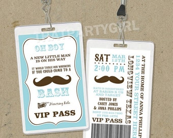 DIY Vintage Inspired Mustache Bash Party VIP Pass Style Invitations - Digital U Print