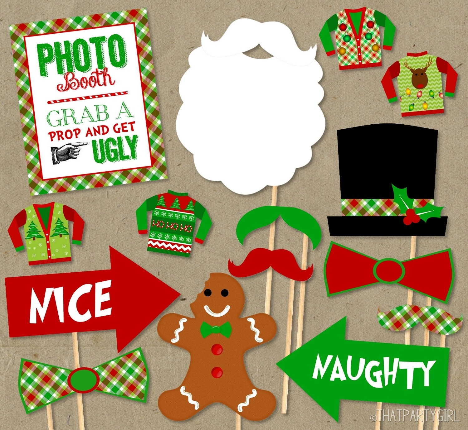 Christmas Jumper Party: Ugly Sweater Party Photo Booth Props Package DIY INSTANT