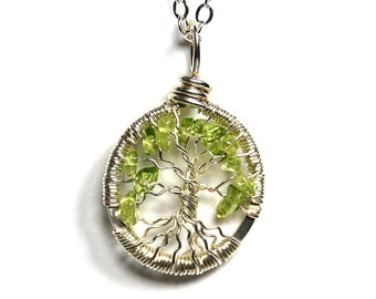 Miniature Small Tiny Tree of Life Necklace in Sterling Silver and Green Peridot Stone.