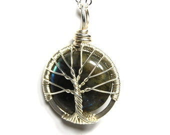 The Sterling Silver Labradorite Stone Tree of Life Necklace
