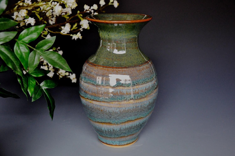 Pottery flower vase handmade b by darshanpottery on etsy for Handmade flower vase with waste material