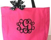 Monogrammed Tote Bag, Bridesmaid gift, Beach bag, 20 colors, personalized wedding, birthday, graduation, greek.