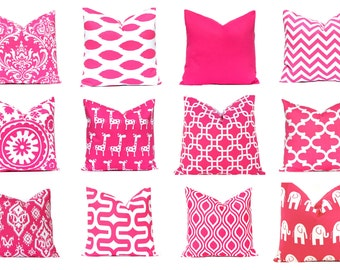 Hot Pink Pillow Cover - Decorative Pillow Cover - Solid, Ikat and Nicole - Pink Cushion Cover - Hot Pink Cushion - Pink Chevron Pillow Cover
