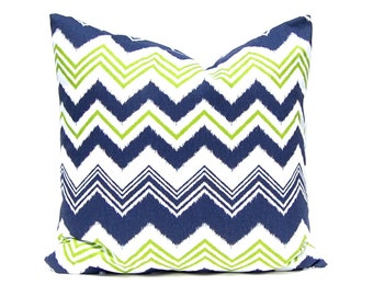 Navy Blue Pillow, Green Pillow, Chevron Pillow Cover, Throw Pillow Cover, Decorative Pillows Cushion Covers Navy Blue White Chartreuse Green