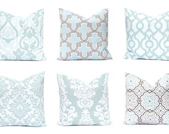 Aqua Pillow Covers, Decorative Throw Pillow Covers, One, Aqua Cushion Covers, Aqua and Brown Accents, Damask Pillow, Floral Pillow