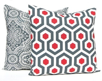 Decorative Pillow Covers, Red Pillow Covers, Red Gray, Red Throw Pillow, Toss Pillow, Throw Pillow Cover Pair of Two Red Pillows Ruby Red