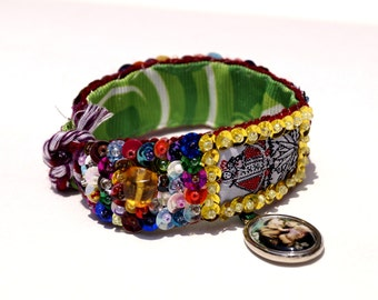 Lady of Remedios scapular embroidered bracelet