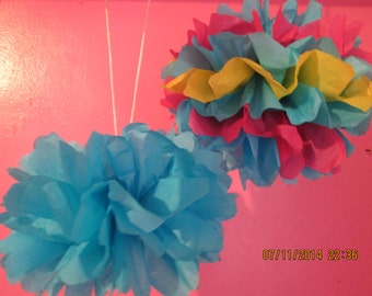 Tissue Flower Puff - Hanging Tissue Ball - Party Decoration - Fiesta Decorations - Manny's Pinata's