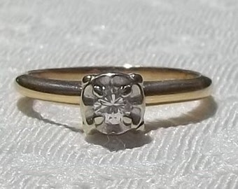 Vintage Midcentury 14K Yellow and White Gold 0.14 Solitaire Brilliant Cut Diamond Engagement Ring size 5 Size 5.75