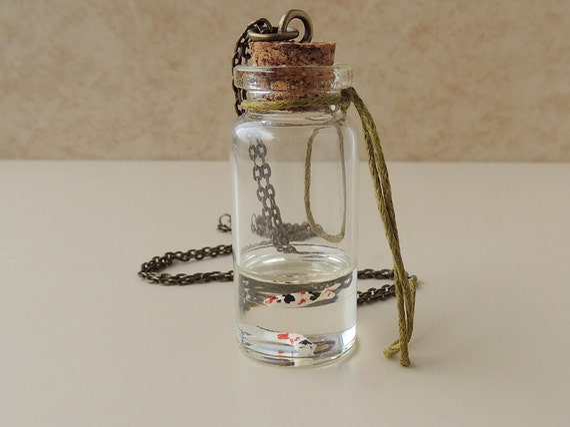 Koi fish bottle necklace two koi carp swimming on resin water for Resin koi fish