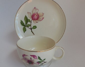 1950s Crooksville Delmar Diana Pink Magnolia Teacups and Plates, Set of 4, Cottage Chic China