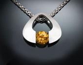 citrine necklace, citrine pendant, November birthstone, modern jewelry, yellow gemstone, eco-friendly, Argentium silver, tension set - 3423