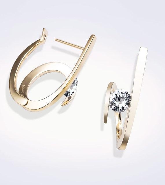 gold earrings, 14k yellow gold earrings, white sapphire earrings, statement jewelry, Christmas gift, hoop earrings, artisan jewelry - 2429