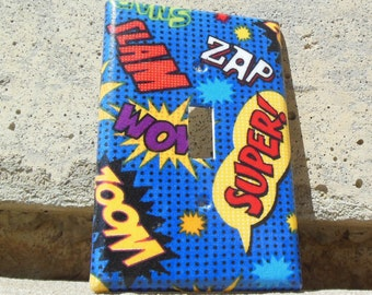"""Superhero Comic Book Exclamations  """"Made to Order"""" Light Switch, Outlet, GCFI, Dimmer, Switchplate Cover"""