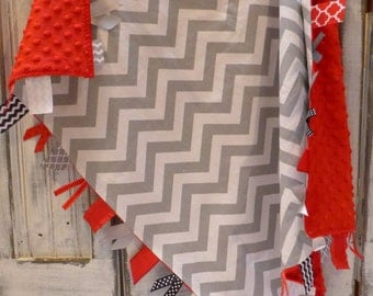 Chevron and  Minky Blanket with Sensory ribbons - taggies  - READY TO SHIP