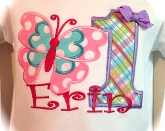 Butterfly Applique Fabric , Embroidered  Shirt or Onesie with Name