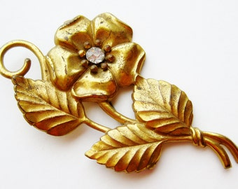 Vintage 40s Gold Repousse Floral Pansy Flower Jeweled Brooch Pin
