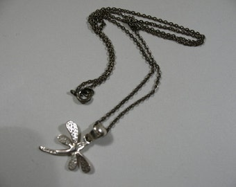 Vintage Sterling Silver Necklace with Dragonfly Pendant