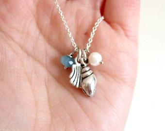 Sea themed charm necklace, with silver shell charms, pearl charm, Angelite gemstone