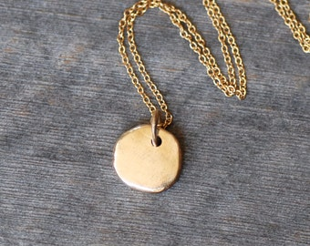 Gold Pebble Necklace - Gold Skipping Stone Pendant - Small Gold Pendant
