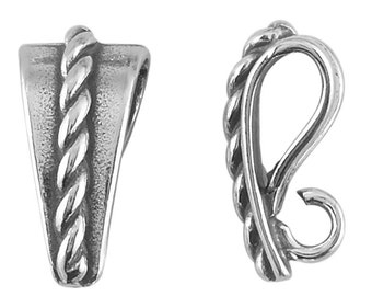 Sterling Silver Rope Design Pendant Bail with Ring