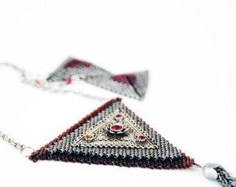 SALE (Regular 85USD) - Geometric Jewelry Beaded Necklace Beaded Earrings Peyote Stitch Beaded Set Ruby And Silver