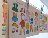 5 POSTER Vintage Cut Out Paper Doll  from 1960s - Antique school paper collectible from Spain