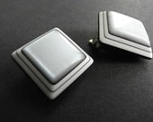 Vintage Earrings Laminated Lucite Lea Stein Style 60s Mod Pop Sale Silver Metallic Clip On